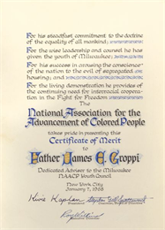 Certificate of Merit presented to Father James E. Groppi of Milwaukee on January 7, 1968, for his work as Advisor of the Milwaukee NAACP Youth Council. WHI 48161.
