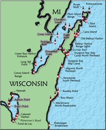 Map of Door County, Wisconsin, marking where lighthouses were built.