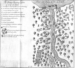 Engraved map of Outgamie Lake.