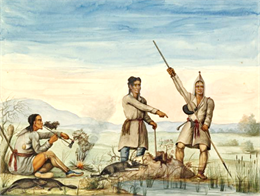 Watercolor painting of three men, one with a spear, hunting near a river.