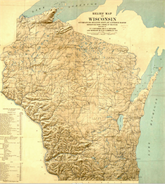 Map showing the topography of the state.