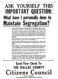 Newspaper advertisement about maintaining segregation.