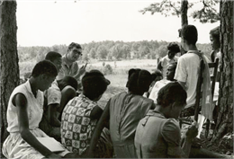 Students at Freedom School meet outdoors for class during Freedom Summer.