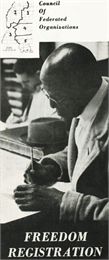 Cover of a pamphelt featuring a black-and-white photograph of a bald, middle-aged black man filling out a registration form in a courthouse.