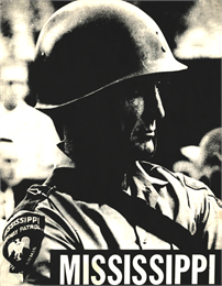 Cover of pamphlet featuring a close-up black-and-white photograph of a helmeted officier in the Mississippi Highway Patrol.