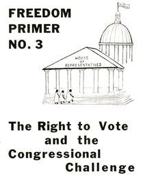 Cover of primer featuring a penned sketch of a group of African Americans walking up the steps of the U.S. Congress and House of Representatives.