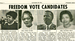 Four small black-and-white portraits of the candidates with brief biographies below.