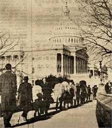 A line of people approaching the dome of the US Capitol.