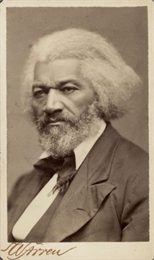 Sepia-toned portrait of Frederick Douglass.