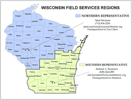 County map of field services regions. Society field services assist local historical societies and museums.
