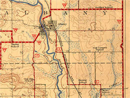 Map showing topography and natural features of Green County, Wisconsin.