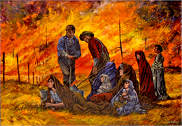 Painting of firefighters combatting the great Peshtigo fire.