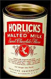 Red and white tin of malted milk.