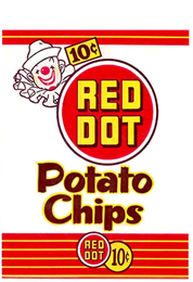 Bag printed with Red Dot Potato Chips branding and a clown in the upper left.