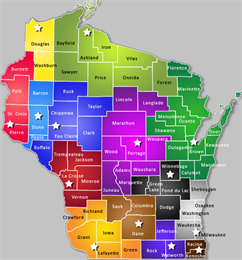 Map displaying the 13 locations for archives research in the state of Wisconsin.