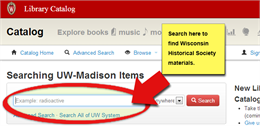 Screenshot image of UW Library Catalog