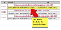 Screenshot image of an Archives Catalog (ArCat) record.