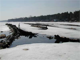 Shipwreck in Sturgeon Bay in the winter.