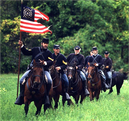Union cavalry riders at the annual Wade House Civil War Weekend.