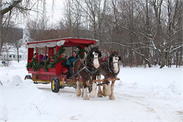 A horse-drawn decorated wagon hauls guests through the woods to the Wade House stagecoach hotel.