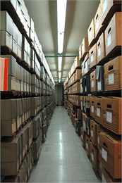 A row of archival stacks at the Wisconsin Historical Society's headquarters building in Madison.