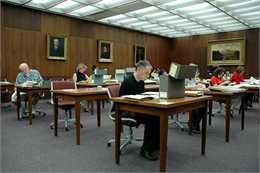 Researchers in the Wisconsin Historical Society's Archives Research Room in Madison.