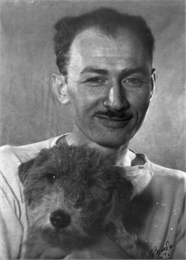 Edmund Eisenscher, posing with his dog.