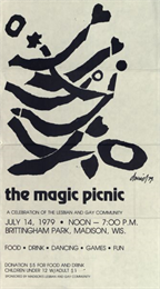 Flyer for the Magic Picnic, a celebration of the lesbian and gay community, which took place in Brittingham Park.