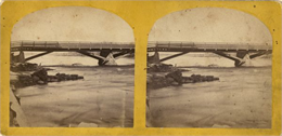 Stereograph view of Cedar Street Bridge, or similar. Published by C.B. Manvill, Neenah, Wisconsin.