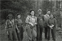 Ribes eradication crew of Indian women on the Menominee Reservation pose together.