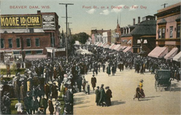 Crowds on Front Street during Dodge County Fair day, circa 1910-1915.