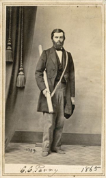 "Full-length carte-de-visite portrait of Charles C. Parry (1823-1890), American Botanist. Parry is most famous for his botanical research in the southern Rocky Mountains of Colorado. Handwritten inscription at the bottom reads, ""C.C. Parry, 1865."""