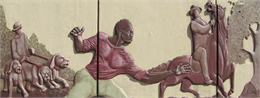 A mural depicting Joshua Glover escaping. He is running from dogs on his left, and appears to be going toward a man on a horse in the right side of the mural.