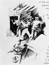 Artist's interpretation of the capture of Joshua Glover from book illustration.
