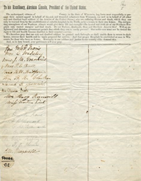 A page of the Cordelia Harvey's petition to president Abraham Lincoln