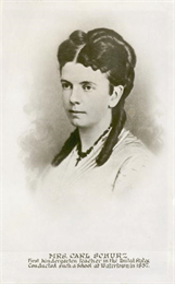 Head and shoulders portrait of Mrs. Margarethe Meyer Schurz, the first kindergarten teacher in the United States.