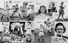 Collage of photographs of members of the All-American Girls Professional Baseball League, as seen in the Racine Belles annual yearbook of 1948.