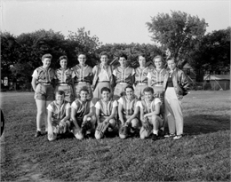 Group portrait of the Hitch Post Women's Softball Team, representing Madison in the West Allis Girl's Classic Softball League.