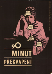 Czechoslovakian film poster. Pink image of a woman resting her head on her hands. Four black silhouette hands cover different parts of her body and feature the names of people involved in the film.