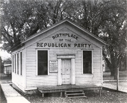 Exterior view of the birthplace of the Republican Party, located on the Republican House grounds.