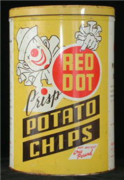 Red Dot Potato Chips container