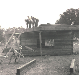 Workers reconstruct the Northwest Bastion of Fort Crawford