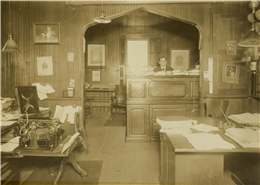 Appleton Woolen Mills general manager Frank James Harwood in his office