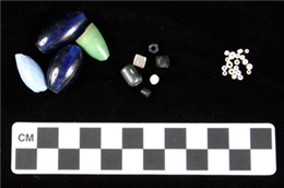 Different sizes of glass trade beads
