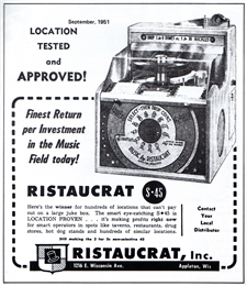 Ad for the Ristaucraft S-45 jukebox