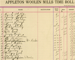Page from the Appleton Woolen Mills Time Roll