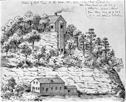 An 1836 sketch of Helena Shot Tower