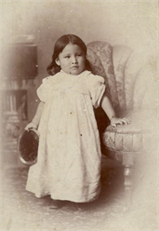 "Studio portrait of Zintka Lanuni (""Lost Bird"") Colby, a Lakota, who as an infant survived the Battle of Wounded Knee in 1891."