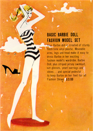 Barbie in her original zebra-striped swimsuit