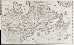 The Wisconsin portion of Champlain's 1632 map, augmented since the previous one.